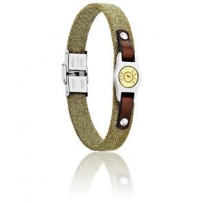 Bracelet Plaque Bang Bang PM, Canevas Kaki & Acier