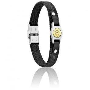 Bracelet Plaque Bang Bang PM, Canevas Noir & Acier