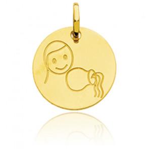 Médaille Zodiaque Petit Verseau Or Jaune 18K
