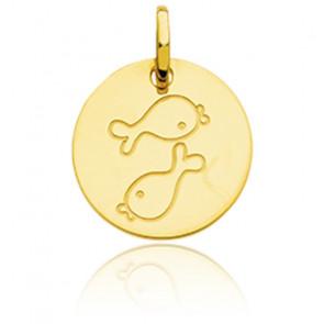 Médaille Zodiaque Petit Poisson Or Jaune 18K