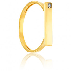 Bague Table & Diamant Or Jaune 18K