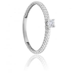 Bague Torsadée & Diamant Or Blanc 9K