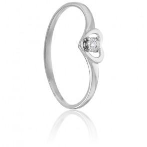 Bague Coeur & Diamant Or Blanc 9K