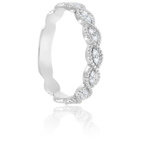 Alliance Perlée & Diamants Or Blanc 9K