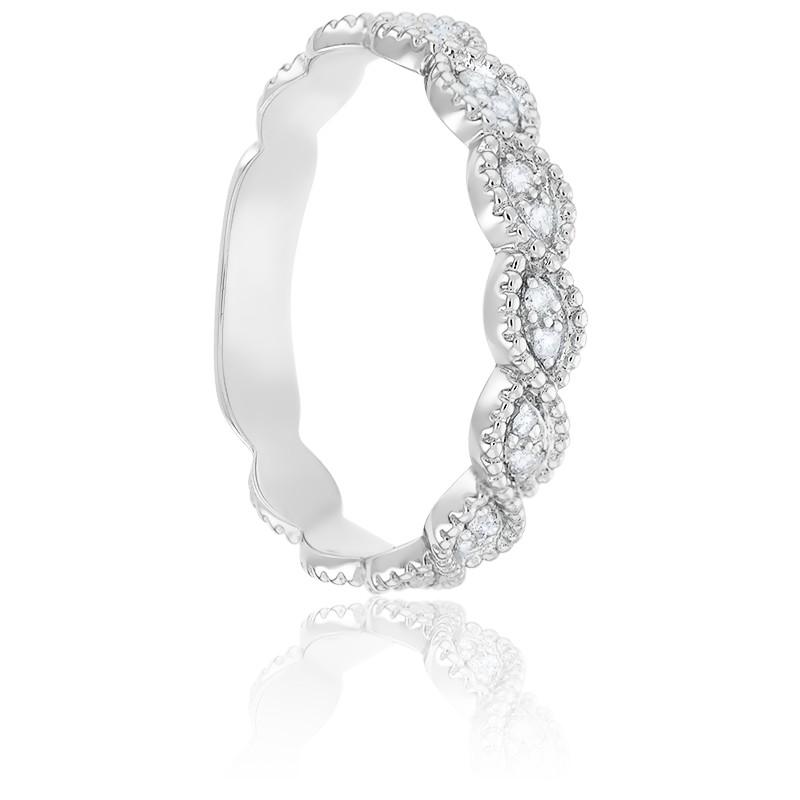 Alliance Perlée & Diamants Or Blanc 9K