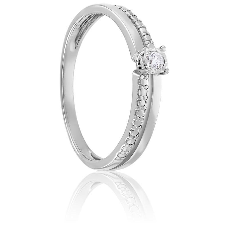 Bague Asymétrique Diamant Or Blanc 9K