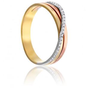 Bague Triple Anneaux & Fil Diamanté 3 Ors 18K