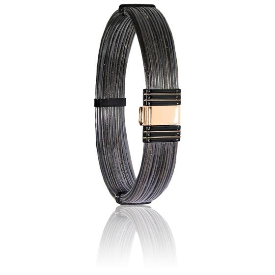 bracelet 701n poils d 39 el phant acier or rose 18k. Black Bedroom Furniture Sets. Home Design Ideas