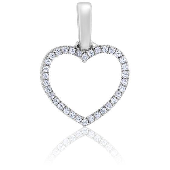 Pendentif Coeur Serti Diamants & Or Blanc 18K