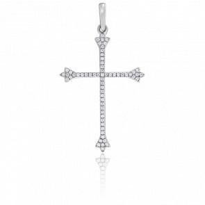 Pendentif Croix Pavée Diamants & Or Blanc 18K