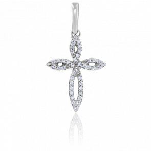 Pendentif Croix Florale Diamants & Or Blanc 18K