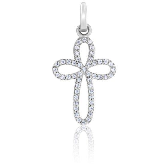 Pendentif Croix Arrondie Diamants &  Or Blanc 18K