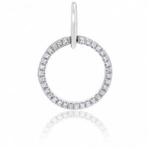 Pendentif Rond Diamants & Or Blanc 18K