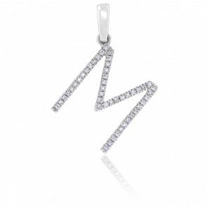 Pendentif lettre « M »  Diamants & Or Blanc 18K