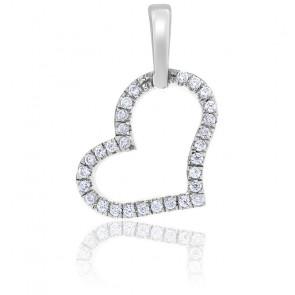 Pendentif Coeur Diamants & Or Blanc 18K