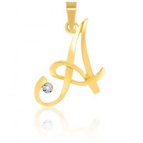 """Pendentif """"A"""" Diamants & Or Jaune 18K"""