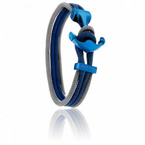 Bracelet Ancre Yacht Club PVD Bleu, Double Cordon Gris & Bleu