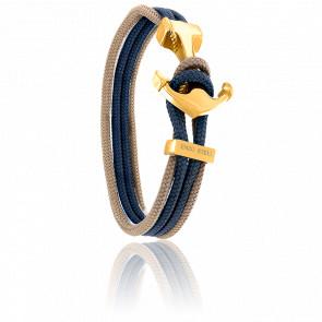 Bracelet Ancre Yacht Club PVD Doré, Double Cordon Taupe & Marine