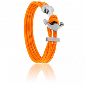 Bracelet Ancre Yacht Club Brossée & Double Cordon Orange
