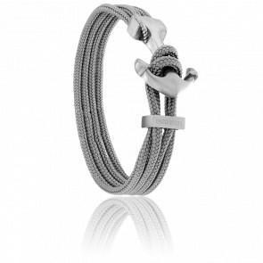 Bracelet Ancre Yacht Club Brossée & Double Cordon Gris
