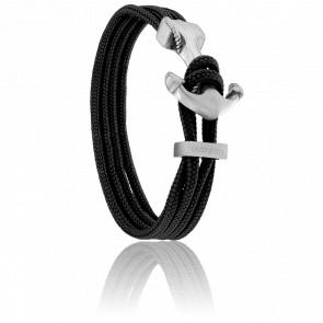 Bracelet Ancre Yacht Club Brossée & Double Cordon Noir