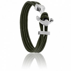Bracelet Ancre Yacht Club Brossée & Double Cordon Kaki
