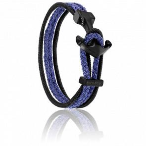 Bracelet Ancre Yacht Club PVD Noir, Double Cordon Jean Bleu & Noir