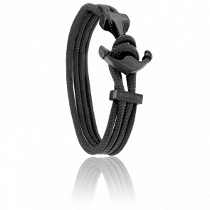 Bracelet Ancre Yacht Club PVD Noir, Double Cordon Noir