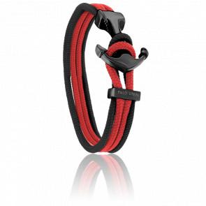 Bracelet Ancre Yacht Club PVD Noir, Double Cordon Rouge & Noir