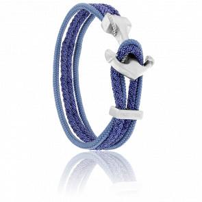 Bracelet Ancre Yacht Club Brossée & Double Cordon Jean Bleu