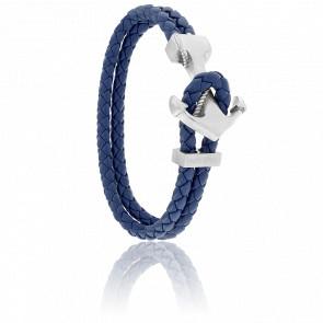 Bracelet Ancre Yacht Club Brossée & Cuir Bleu