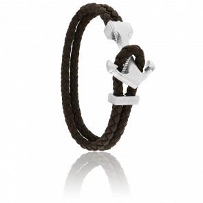 Bracelet Ancre Yacht Club Brossée & Cuir Marron