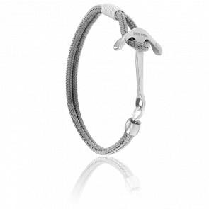 Bracelet Ancre Surf Acier Brossé & Cordon Gris