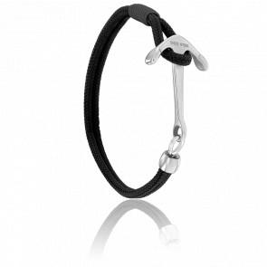 Bracelet Ancre Surf Acier Brossé & Cordon Noir