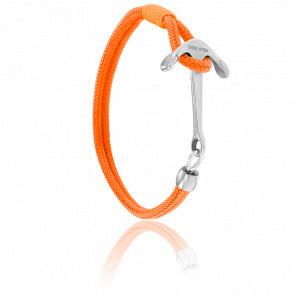 Bracelet Ancre Surf Acier Brossé & Cordon Orange