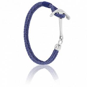 Bracelet Ancre Surf Acier Brossé & Cordon Jean Bleu