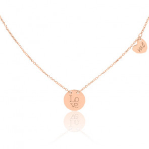 Collier Médaille Love Me Or Rose 18K