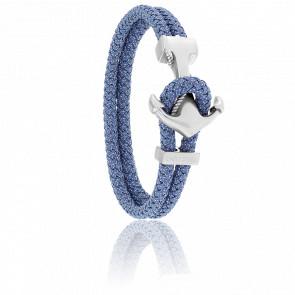 Bracelet Ancre Yacht Club Brossée & Cordon Jean Bleu-Gris