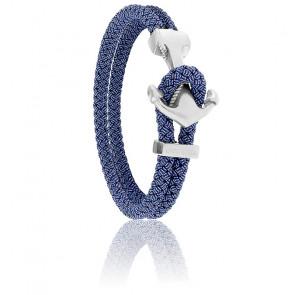 Bracelet Ancre Yacht Club Brossée & Cordon Jean Bleu