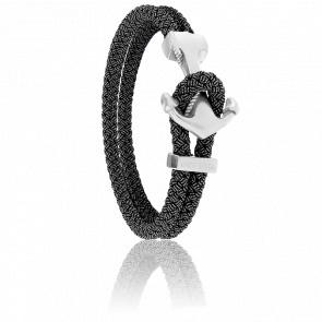 Bracelet Ancre Yacht Club Brossée & Cordon Jean Noir