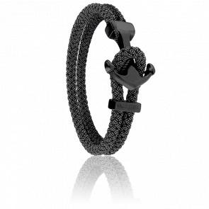 Bracelet Ancre Yacht Club PVD Noir & Jean Noir