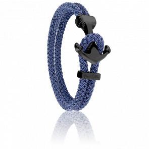 Bracelet Ancre Yacht Club PVD Noir & Jean Bleu