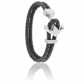 Bracelet Ancre Yacht Club Brossée & Cuir Gris