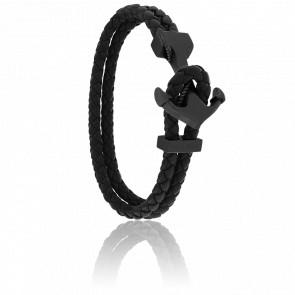 Bracelet Ancre Yacht Club PVD Noir & Cuir Noir