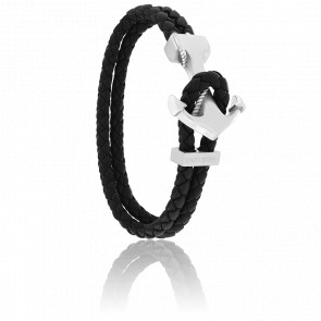Bracelet Ancre Yacht Club Polie & Cuir Noir