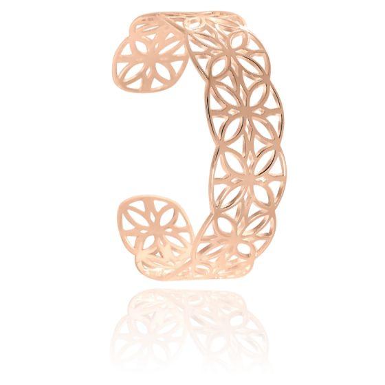 Bracelet Manchette Graphique Plaqué Or  Rose