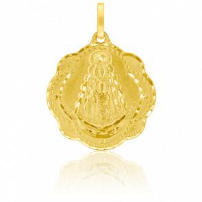 Médaille Vierge à la Rosée Feuilles de Ginkgo Or Jaune 18K