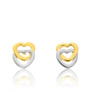 Boucles d'Oreilles Duo Cœurs Or Jaune & Blanc