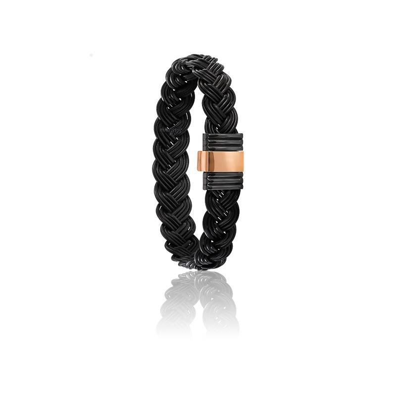 Bracelet 699N Poils Éléphant Tressé, Acier & Or Rose 18K