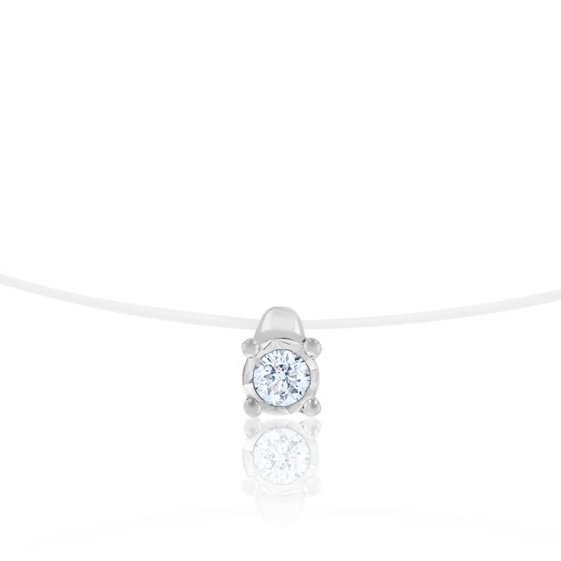 Collier fil nylon, diamant et or blanc 18 carats